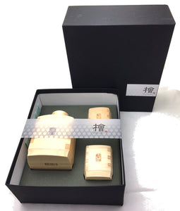 Yamaco Hinoki Cypress Square Sake Set  (1 sake bottle and 2 cups) - ANP - Japan Premium Malaysia