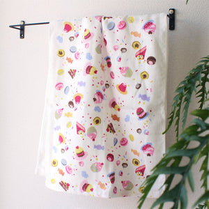 Gauze Hand Towel for Girls (1 Set-Pattern for girls x3, Sweets design pattern x3) - MNK