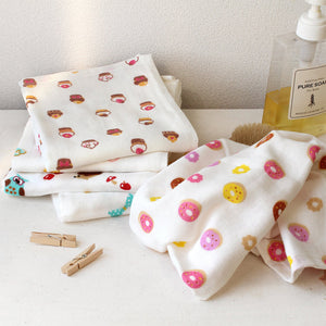 Gauze hand towel for girls. Pattern for girls x3, Sweets design pattern x3 - MNK