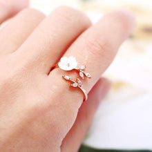 Load image into Gallery viewer, 【Pre-order】Engagement Leaf Flower Rings for Women Fashion Cubic Zirconia Rose Gold Color Open Ring 2020 New Wedding Jewelry Gifts - GLB