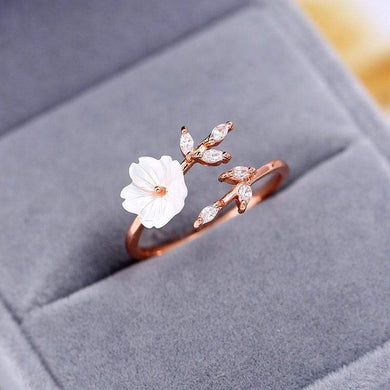 【Pre-order】Engagement Leaf Flower Rings for Women Fashion Cubic Zirconia Rose Gold Color Open Ring 2020 New Wedding Jewelry Gifts - GLB
