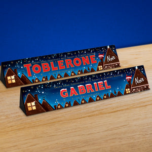 360g Toblerone Dark chocolate with Christmas scene personalised sleeve