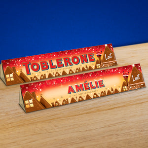 Personalise this 360g Toblerone with Christmas scene personalised sleeve