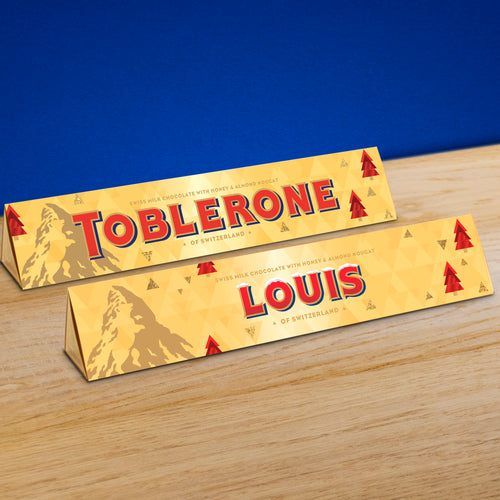 360g Toblerone with Christmas personalised sleeve and font