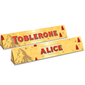 Personalise this 360g Toblerone with Christmas personalised sleeve and font