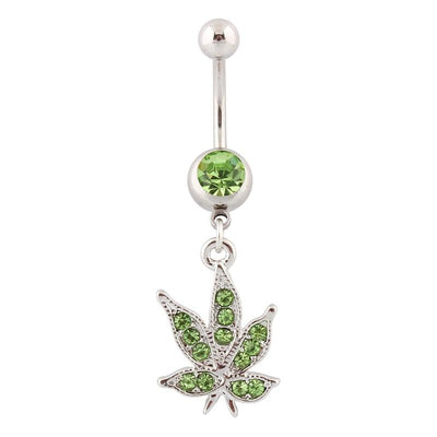 Navel Rings Pot Leaf Piercing Jamaican Rasta Pot Leaf Green 420 Belly button Rings