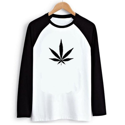 Hippie Punk Weed Print Black and White Long Sleeve Swag Shirt - Dope Clothes