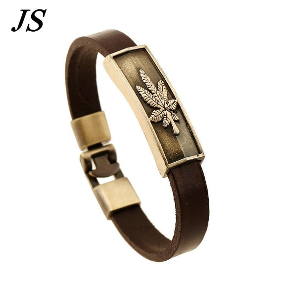 Cannabis Leaf Leather Wristband Charm Pot Leaf Bracelet - Dope Clothes