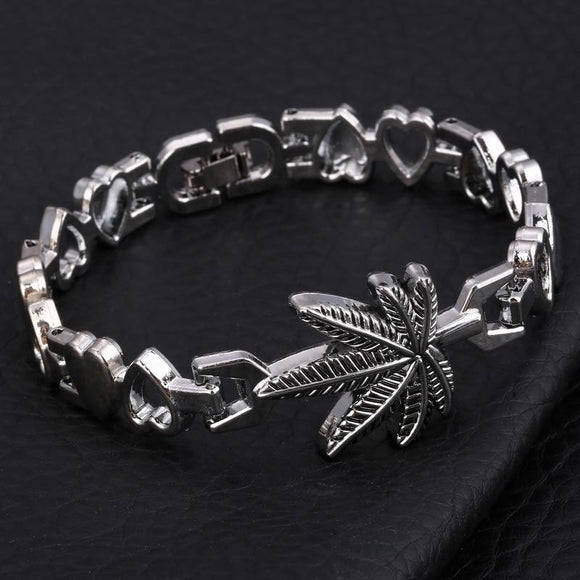 In the Love of Weed | Cannabis Leaf and Hearts Charm Bracelets - Dope Clothes