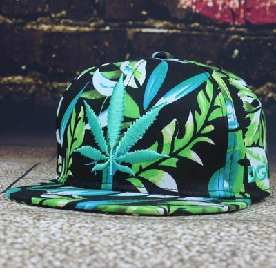 Fashion Mary Jane Leaf Flatbill Snapback Weed Hat - Dope Clothes