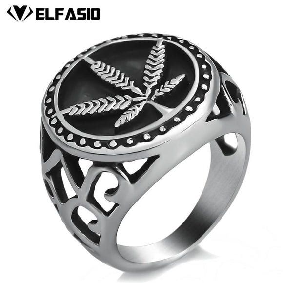 Stainless Steel Weed Leaf Cannabis Symbol Fashion Stoner Ring - Dope Clothes