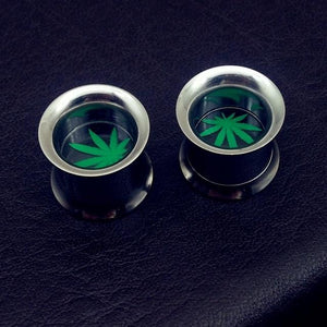 6 Sizes Cannabis Leaves Ear Guage / Stud - Dope Clothes