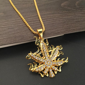 Iced Out Flaming Weed Pot Fire Necklace - Dope Clothes