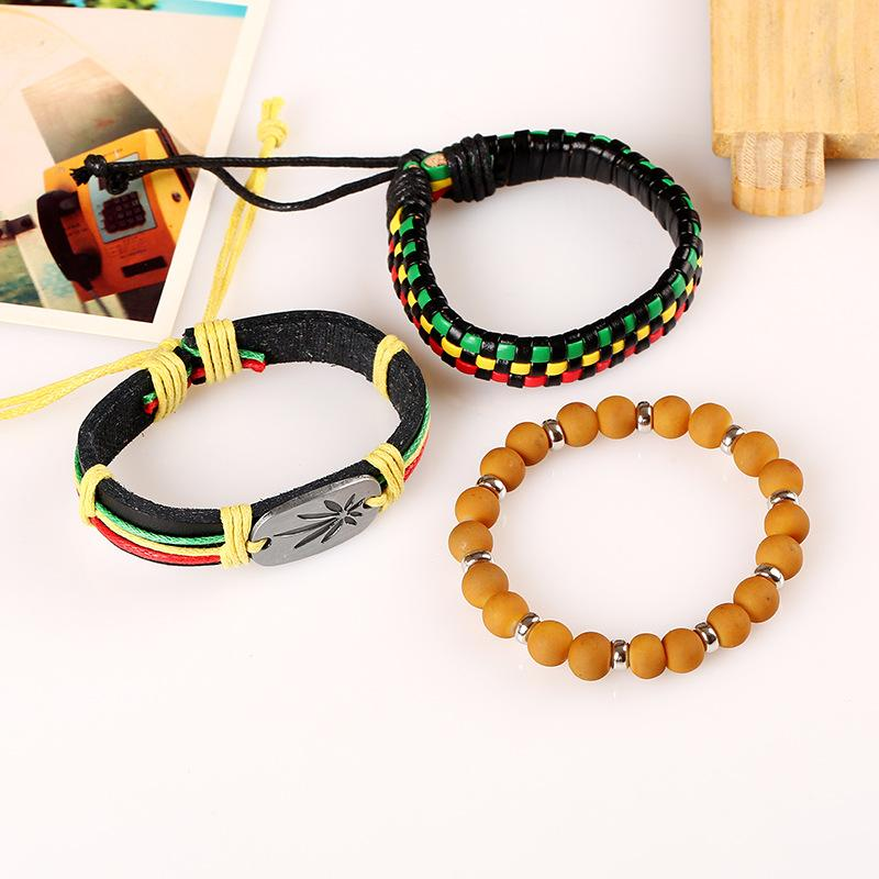 🌱👕 👖other; $6.39 vs $6.39 3pcs/set Jamaica Handmade Leather Weed Raggae Bracelet