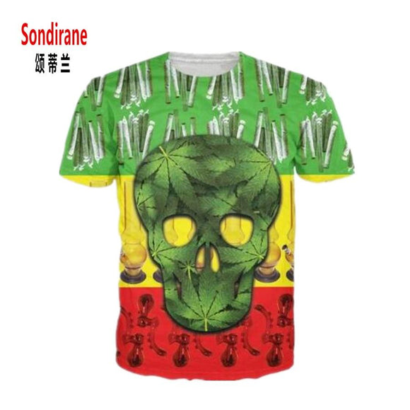 Raggae Weed Skull Leaves 3D Rasta Skull Print Cannabis T-Shirt - Dope Clothes
