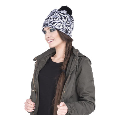 Winter 420 Black and White Printed Weed Beanie - Dope Clothes