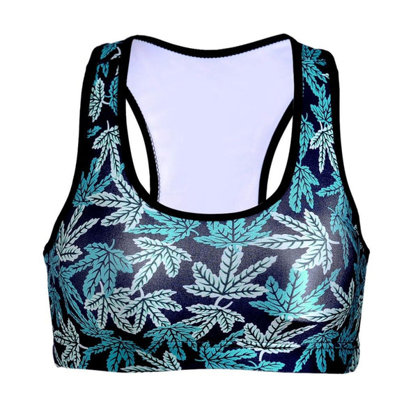 Blue Weed Sexy Women's Pot Leaf 3D Prints Padded Push Up Sports Bra - Dope Clothes