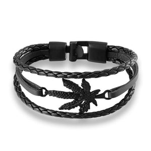 Fashion Genuine Leather Weed Leaf Black 420 Bracelet