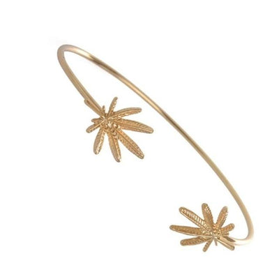 Hemp Leaf Charm Bangle Metal Bracelet