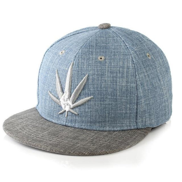 Unisex Flat Bill Brown Snapback Cannabis Cap Pot Leaf Hat