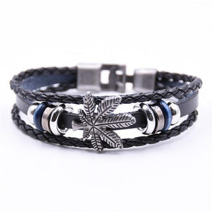Rope Bracelet Blac Handmade Leather 420 Bracelet Weed - Dope Clothes