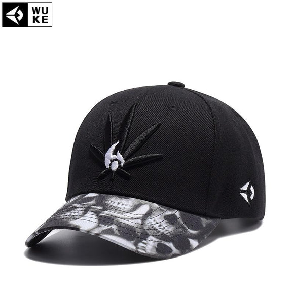 [WUKE] Fashion New Embroidery Weed Leaf and Skulls Baseball Cap - Dope Clothes