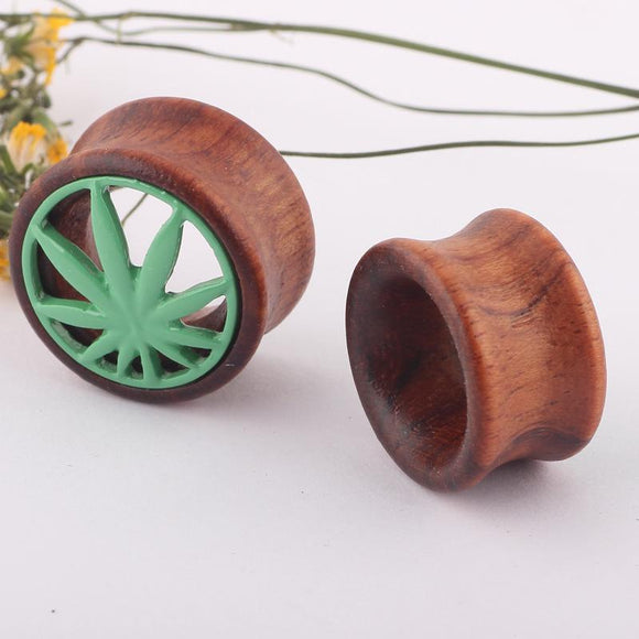 2 Pcs Punk Gauges Wood Pot Leaf Ear Gauges - 7 Sizes