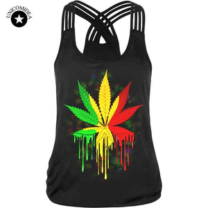 Womens Weed Leaf Raggae Fitness Tank Top - Dope Clothes