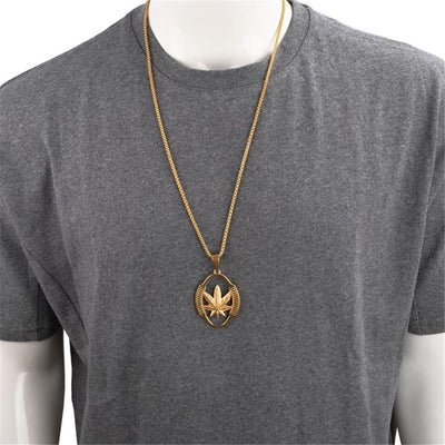 Stainless Steel Weed Hemp Leaf Pendant with Chain - Dope Clothes