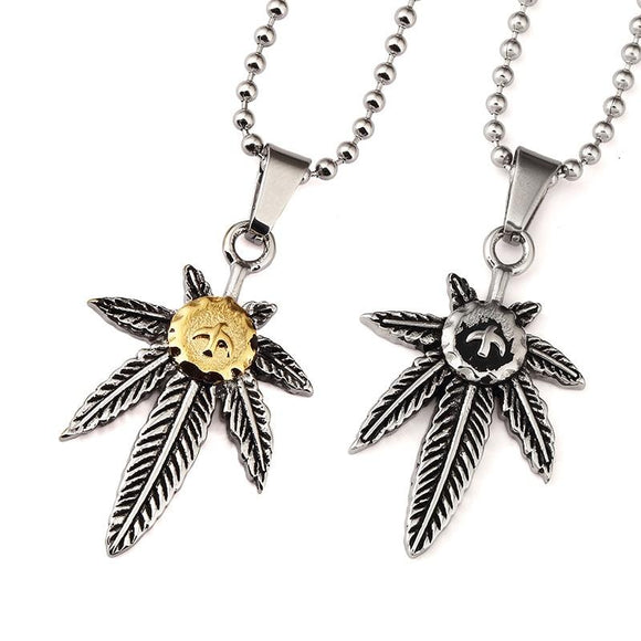 Bird Engraved Marijuana Leaf Necklaces S - Dope Clothes