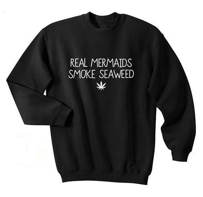 Unisex Casual Real mermaids smoke seaweed Pull-Over Sweater - Dope Clothes
