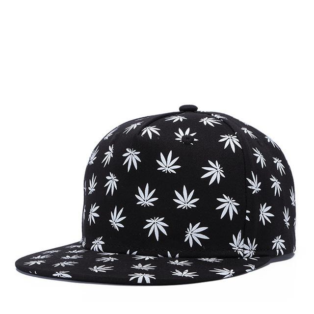 Hemp Leaf Printed Sports Flat-Bill Fashion Adjustable Snapback