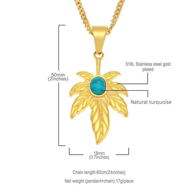 Hiphop Blue Stone Gem Marijuana Leaf Gold Color Marijuana Necklace