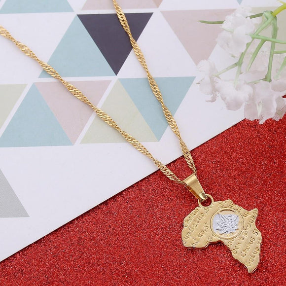 Gold Colored Africa Cannabis Weed Charm Necklace - Dope Clothes