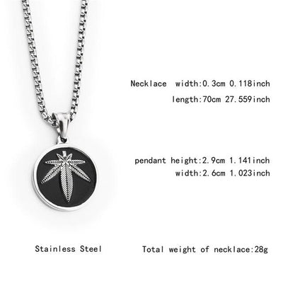 🌱👕 👖jewelry; $24.39 vs $24.39 Stainless Steel Hemp Weed Leaf Round Charm Necklace