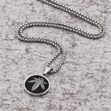 Stainless Steel Hemp Weed Leaf Round Charm Necklace - Dope Clothes