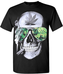 "Skull and Blunt Cannabis ""Bad Ass"" Stoner T-Shirt - Dope Clothes"