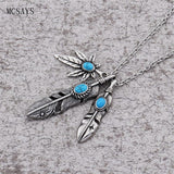 Stainless Steel Weed Leaf Feather Pendant Necklace - Dope Clothes