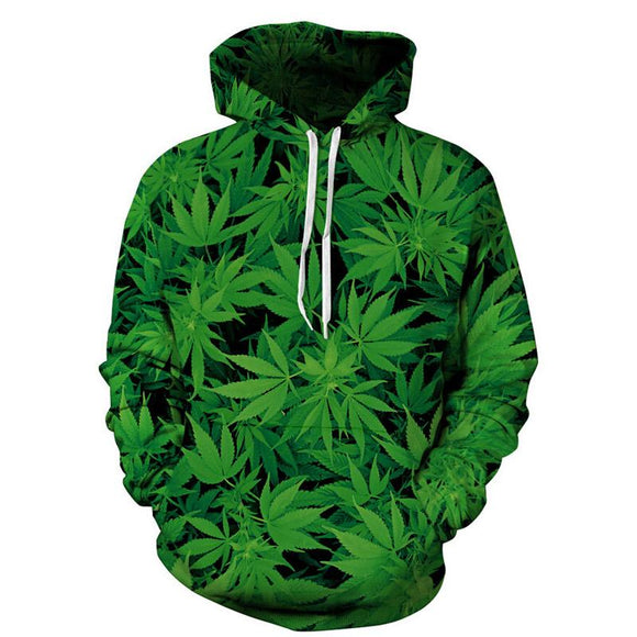 Hooded Sweatshirt Weed and Flower Print 3D Hoodie - Dope Clothes