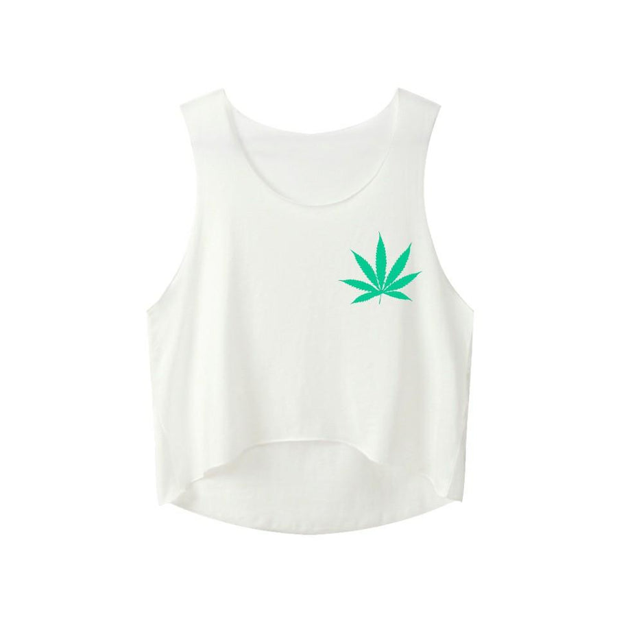 Weed Leaf Print Women Sexy Cotton Pot Leaf Emblem Tank Top Shirt - Dope Clothes