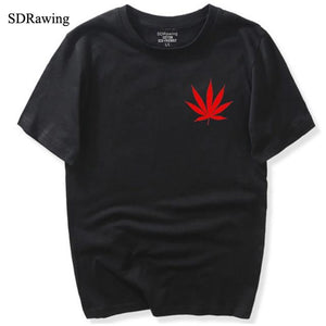 Fashion Red Weed Leaf Print Marijuana T Shirt - Dope Clothes
