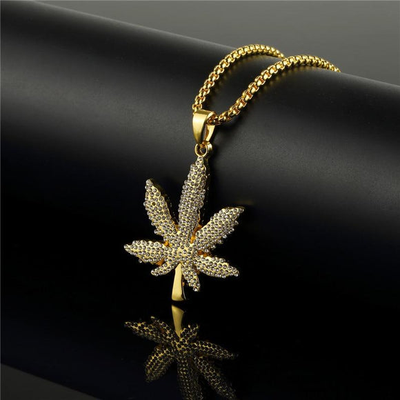 Golden Weed Leaf Necklace Weed Chains Necklace