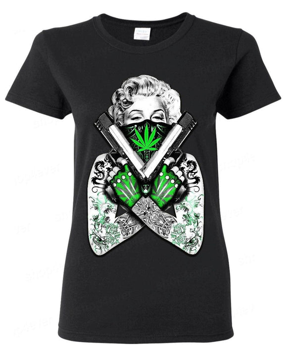 Tatted Marilyn Monroe Weed Sexy Cannabis Tee - Dope Clothes