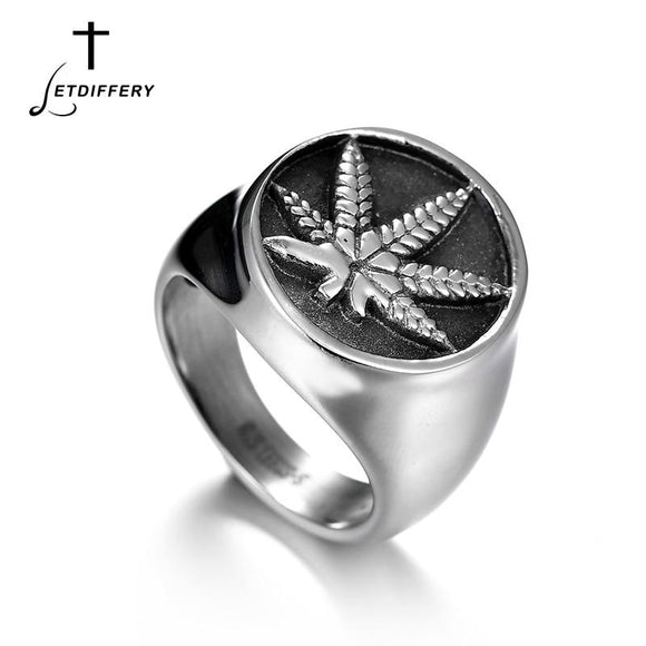 Steel Weed Leaf Silver Colored 420 Ring - Dope Clothes
