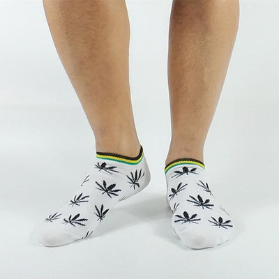 3 Pack Men's Skater Pot Print Low Cut Rasta Socks