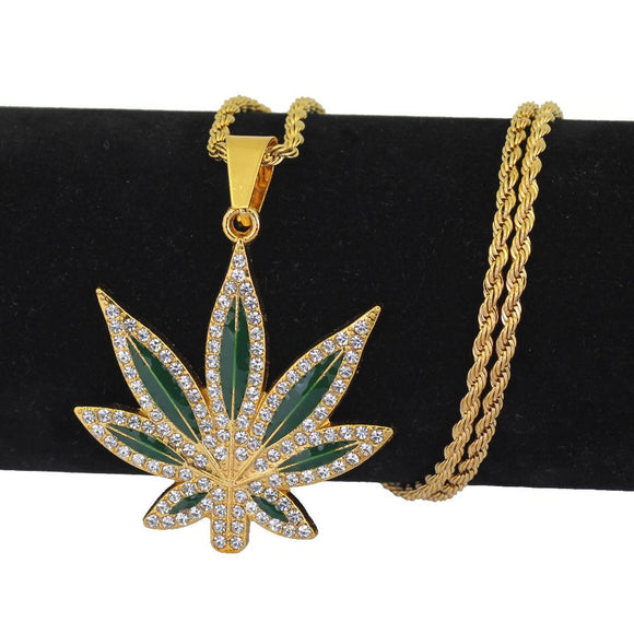 Bling Weed Leaf Green Hemp Pendant - Dope Clothes