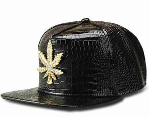 Pleather Fashion Mens Hip Hop Weed Flatbill Cap - Dope Clothes