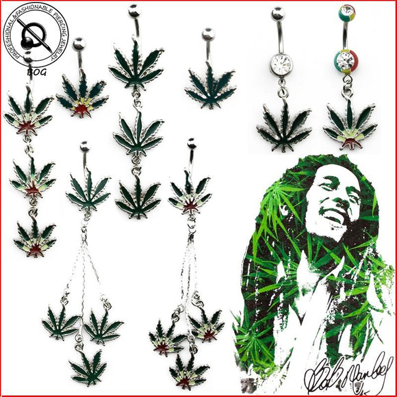 BOG Sexy Jamaican Rasta Pot Leaf Belly Button Ring - Dope Clothes