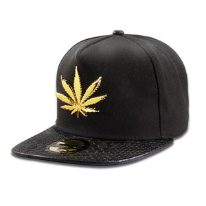 Golden Pot Leaf Camouflage Snapback Hat - Dope Clothes