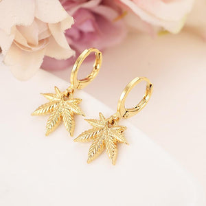 Gold Color Clip-on Pot leaf Earring - Dope Clothes